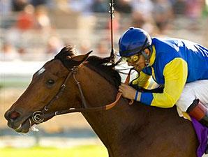 Tiz West and jockey Victor Espinoza prevail in the La Puente Stakes at Santa Anita.