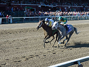 Unbridled Forever wins the 2015 Shine Again Stakes.