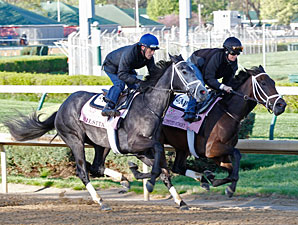 Unlimited Budget (inside) and Silsita, Churchill Downs, April 20, 2013.